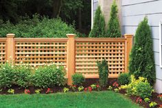 A cedar fence featuring square lattice and chunky posts creates a decorative yard accent that'll stand up to any climate