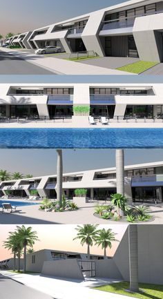 Concept terrace of 2 storey condominiums, 4 no. 278m2, 3 bed units in each block, from Bespoke-homes.com Home Design Plans, Plan Design, Bed Unit, Contemporary House Plans, Condominium, Bespoke, Terrace, Modern Design, Concept