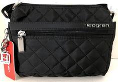 NEW HEDGREN Carina Crossbody Shoulder Bag Black Diamond Quilted Nylon Adj Strap #Hedgren #CrossbodyBag