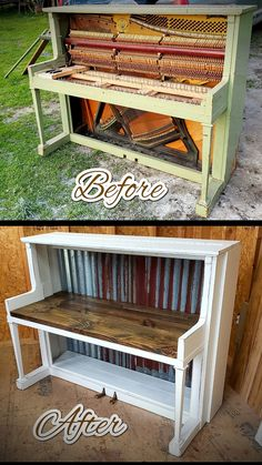 Refurbished piano Into farm house hutch Diy Furniture Renovation, Furniture Makeover, Refurbished Furniture, Repurposed Furniture, Piano Crafts, Piano Desk, Old Pianos, Workbenches, Camps