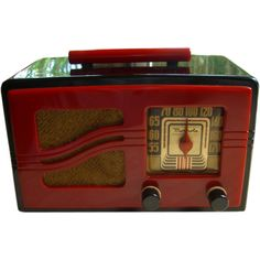 Rare and beautiful Motorola 51X16 black and red bakelite radio  USA  1941. Learn about your collectibles, antiques, valuables, and vintage items from licensed appraisers, auctioneers, and experts at BlueVault. Visit:  http://www.bluevaultsecure.com/roadshow-events.php