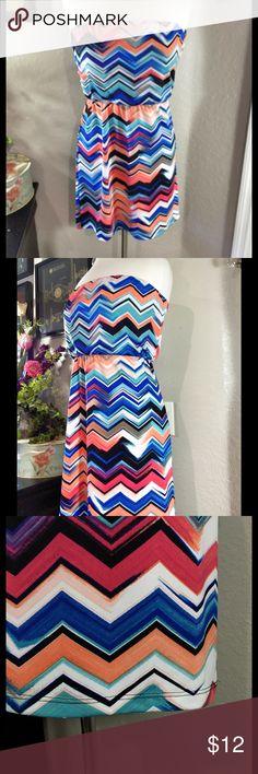 Lipstick Multicolor Chevron Strapless Dress Size S Good condition. 95% polyester 5% spandex. Lipstick Dresses Strapless