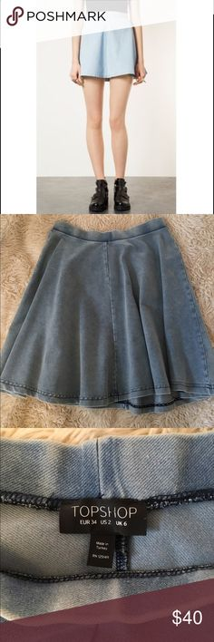 Topshop Light Blue Denim Skater Flare Skirt Perfect Condition. Super cute. My pics look a little darker but color is accurate in the pics with models. Size US 2. Price lower off Posh. Topshop Skirts Circle & Skater