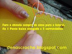 Dena's Crochê: Passo a passo- havaianas customizada em crochê