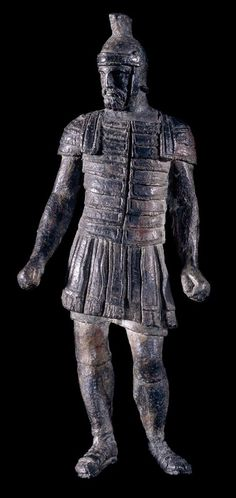 Bronze statuette of a legionary (foot soldier) perhaps a praetorian guard. The soldier wears a tunic with an outer skirt of leather straps and on his upper body lorica segmentata. He is also wearing strapped sandals breeches and a crested helmet. Ancient Rome, Ancient Greece, Ancient History, Roman Artifacts, Ancient Artifacts, Roman History, Art History, Statues, Rome Antique