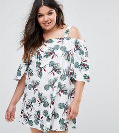 Alice & You Palm Print Cold Shoulder Dress - Multi