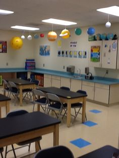 Solar system display in classroom! Science classrooms should look inviting .