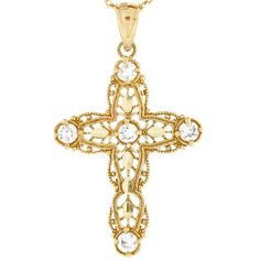 10k Gold Diamond Cut Religious Christian Filigree CZ Cross Pendant Jewelry Liquidation. $101.51. Made with Solid 10k Gold!. Made in USA!