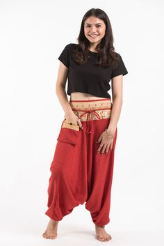 Pinstripe Cotton Low Cut Women's Harem Pants with Elephant Trim in Red Elephant Pants, Harem Pants, High Waisted Skirt, Pants For Women, Skirts, Red, Cotton, Pocket, Collection