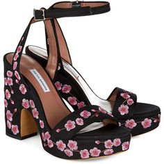 Tabitha Simmons Black Blossom Embroidered Calla Heels ($205) ❤ liked on Polyvore featuring shoes, sandals, heels, scarpe, chunky heel platform sandals, leather sandals, buckle sandals, black leather sandals and ankle strap sandals