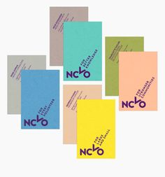 NCVO visual identity and brightly coloured business cards designed by MultiAdaptor.