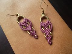 Pink Macrame earrings with brass