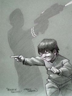 Engage Phasers - Craig Davison Superhero Kids, Shadow Art, Whimsical Art, Cool Drawings, Art Boards, Star Trek, Illustrators, Cute Pictures, Action Films
