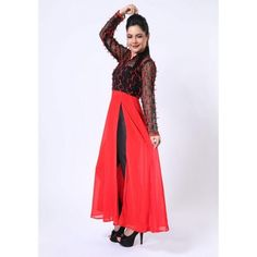Divalicious Red & Black Ribbon Work Side Slit Kurti