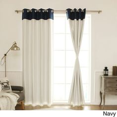 Aurora Home Top Border Faux Silk Blackout Curtain Panel – 52 x 84 (Sky Blue)(Polyester, Color Block) Aurora Home Top Border Faux Silk Blackout Curtain Panel – 52 x 84 (Navy), Blue(Polyester, Color Block) Curtains Living Room, Home, Blackout Panels, House Styles, Color Block Curtains, Panel Curtains, Colorful Curtains, Curtain Styles, Blackout Curtains