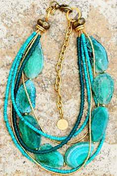 Blue Agate, Turquoise and Gold Multi-Strand Pendant Necklace