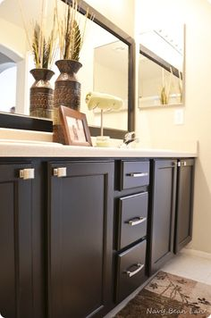 Kitchen And Bathroom Makeovers Using Paint. Love The Black Cabinets