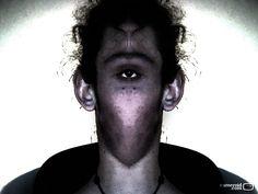 one eye...............