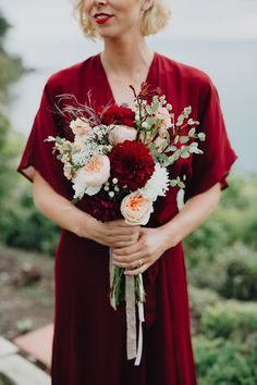 Autumnal Dahlia and Garden Rose Bouquet