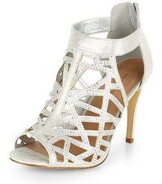 New Look Silver Diamante Cut Out High Vamp Heels #heels #women #covetme