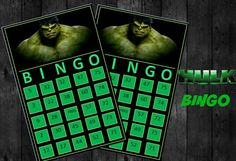 Hulk Bingo Game with 14 unique Bingo cards and by GoldMimeDesigns