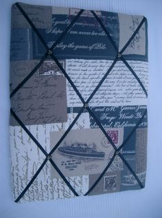 French memo board with antique journal by HowManyBeansMakeFive