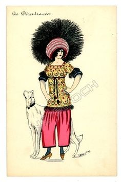 art deco woman and dog figurines | ... postcard art deco woman w big feather & hat greyhound dog | eBay