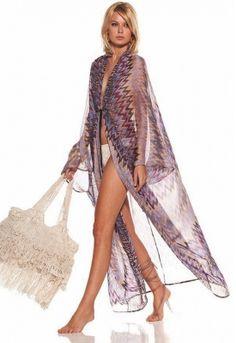 Alexis Esme Long Silk Chiffon Caftan in Tri Purple Kimono Fashion, Boho Fashion, Womens Fashion, Beach Kaftan, Long Kaftan, Beachwear Fashion, Bikini, Beach Wear, Beach Dresses