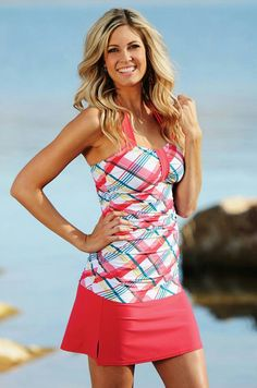 Modest Swimwear from New 2013 Divinita Sole swim line has updated Plaid in Coral/Turquoise!<<<I'd rather shorts than a skirt though Modest Swimsuits, Cute Swimsuits, Swimsuits 2014, Modest Outfits, Summer Outfits, Beachwear, Swimwear, Summer Wear, Fashion Outfits