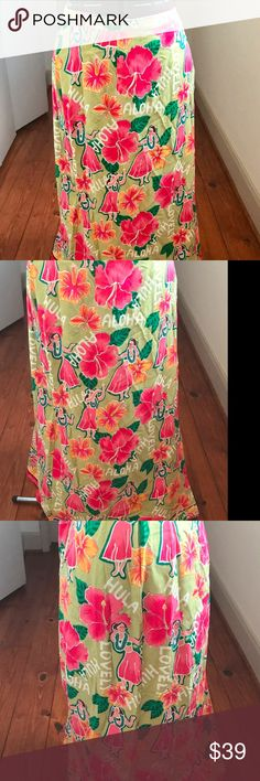 """Hearts of Palm Sz 18 Maxi Wrap Around Skirt NWT Hearts of Palm Sz 18 Maxi Wrap Around Skirt,Color:  Measurements: Length (waist to bottom edge): 38"""" Waist: 38. Waist has elastic and it's a wrap a round so the sizing is adjustable. Full length wrap around skirt with a print of hibiscus flowers, green plants and Hula girls. Fabric: Rayon.Very colorful - perfect for a tropical vacation or a Tiki bar! Smoke Free HomeWe.  Do Have Cats Hearts of Palm Skirts"""
