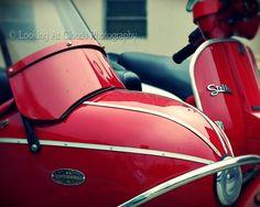 SALE  Stella Vespa Scooter - sidecar - side car - 20% off - fine art photo 8x10 - racy RED Vespa - mod wall decor - genuine scooter