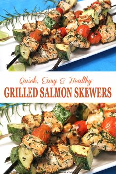 Turn up the heat, on your grill that is! These delicious grilled salmon skewers are like a complete meal on a stick. Fresh salmon, cherry tomatoes and zucchini tossed in a seasoned vinaigrette then grilled. Healthy, quick & with little to no cleanup. Salmon Recipes, Fish Recipes, Seafood Recipes, Dinner Recipes, Healthy Recipes, Grilled Dinner Ideas, Kebab Recipes, Tilapia Recipes, Orange Recipes