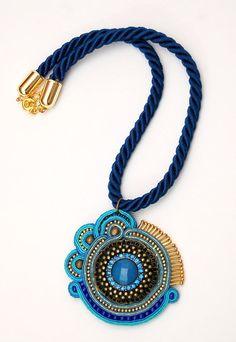 naszyjnik wisior sutasz soutache pendant necklace 10a
