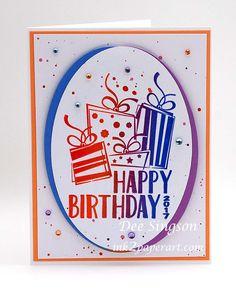 Fun Stampers Journey, FSJ, Happy Birthday stamp 2017, Happy Birthday card, Journey silk bubble gum, Journey ovals die