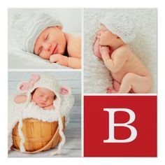 Shop Monogram Baby Photo Collage Poster created by jenniferstuartdesign. Personalize it with photos & text or purchase as is! Baby Photo Collages, Photo Collage Gift, Birth Announcement Template, Birth Announcement Boy, Birth Announcements, Large Photo Prints, Gifts For Expecting Parents, Baby Monogram, Monogram Fonts