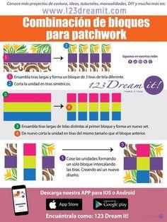 Aquí te dejamos esta sencilla guía para que puedas aprender a combinar bloques en patchwork fácilmente.