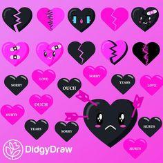 Valentines Day Broken Heart Valentines Clip Art Valentines | Etsy