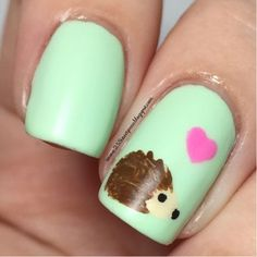 25 Sweetpeas: Woodland Animal: Hedgehog Nail Art Nail Design, Nail Art, Nail Salon, Irvine, Newport Beach