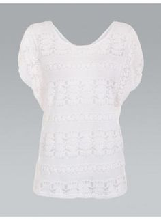 Sheer Lace Pattern Top,  Top, white  sheer lace  mesh  oversized top, Casual www.UsTrendy.com