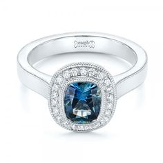 Custom Blue Sapphire and Diamond Halo Engagement Ring | Joseph Jewelry | Bellevue | Seattle | Online | Design Your Own Ring