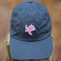 - 100% Cotton Baseball Cap Adjustable with Embroidered Turtle - Sewn in the USA *Portion of each sale is donated directly to helping protect the turtles*