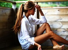 white button down, long hair, cut off jean shorts. ABSOLUTELY PERFECT