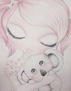LOLA & KOALA Adult Coloring, Coloring Pages, Drawing Sketches, Art Drawings, French Bulldog Art, Sketches Of People, Little Girl Rooms, Organic Baby, Baby Birthday