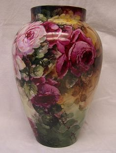 "Exceptionally Romantic Limoges Antique Vase ~ A  'Portrait of Roses"" with hand painted  Red, Pink, Yellow, and White Lavender Heirloom Victorian Roses enveloping the surface of this exquisite French Porcelain Vase!"