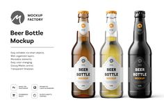 Ad: Beer Bottle Mockup by Mockup Factory on High quality mockup for your design projects. - Easy editable via smart objects - Well organized layers - Moveable elements - Easy color Bag Mockup, Bottle Mockup, Mockup Templates, Design Templates, Marketing, Humor, Light And Shadow, Design Projects, Easy Projects