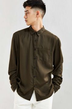 UO Rayon Button-Down Shirt - Urban Outfitters
