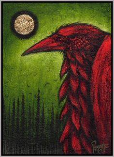 """""""Red Raven"""" Across cultures, the Raven is a profound character of wisdom, cunning, foolishness, and spirtual portents. Crow Art, Raven Art, Bird Art, Red Raven, Quoth The Raven, Jackdaw, Crows Ravens, Rabe, Native American Artists"""