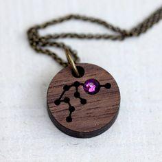 Zodiac Necklace with Birthstone Aquarius Constellation