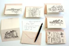 Notecards French stationery set of cards by Cityscapesandthings