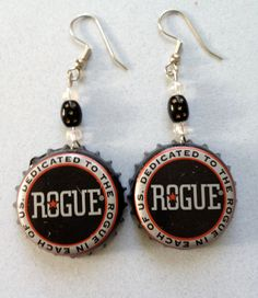 Rogue Brewery Beer Bottle Cap Earrings